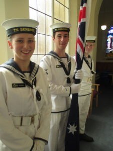 Cadets of the TS Bendigo waiting for the service to begin