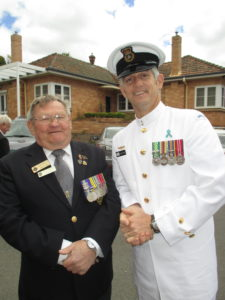 John O'Shea, Secretary of the Ex-Navalmen's Club, with Chief Petty Officer, Shaun Logan.