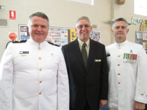 Naval Chaplain, Rev Miles Fagan with Rev Philip Burns and Chief Petty Officer, Shaun Loga